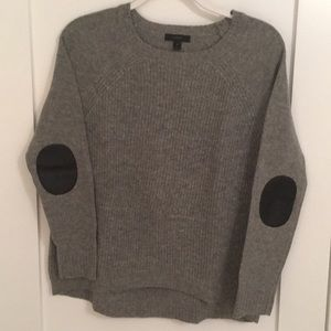 J. Crew Women's Grey Wool Sweater w/ elbow patches